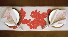 Caminho de mesa para dois azul e vermelho - Refúgio Design