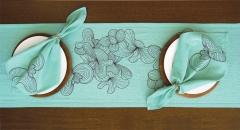 Caminho de mesa para dois pistache e marrom - Refúgio Design
