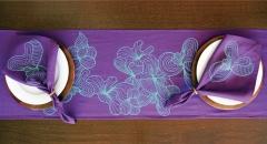 Caminho de mesa para dois roxo e verde água - Refúgio Design