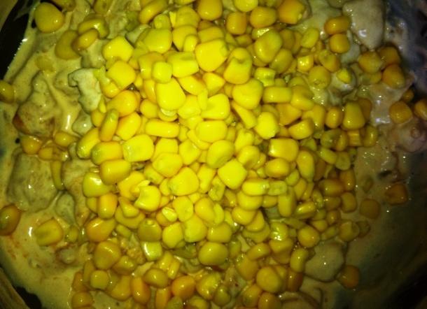 Acrescentando milho ao estrogonofe
